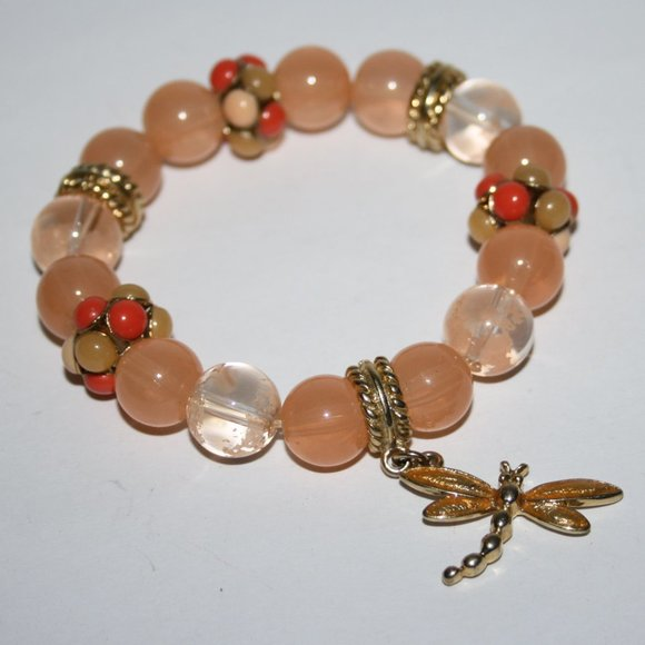 """Beautiful peach and gold dragonfly bracelet 7"""""""